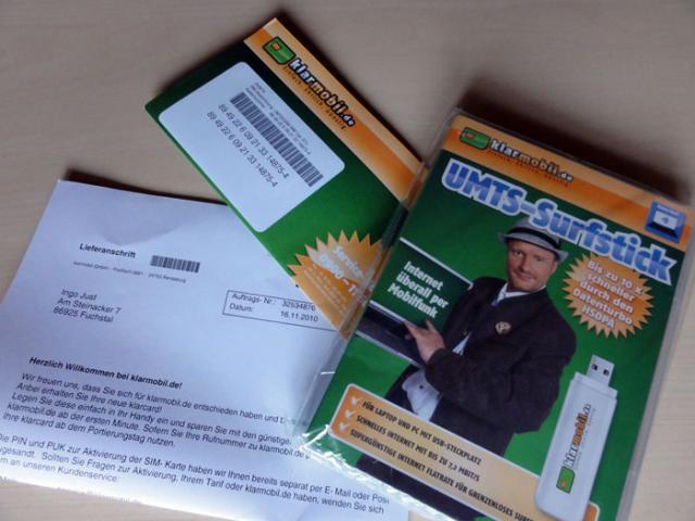 Surfstick, SIM-Karte und Tarifunterlagen - Klarmobil Internet Flat 500