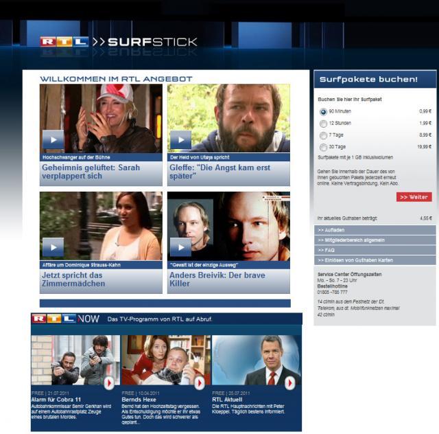 RTL Surfstick Startseite und Surfpakete buchen