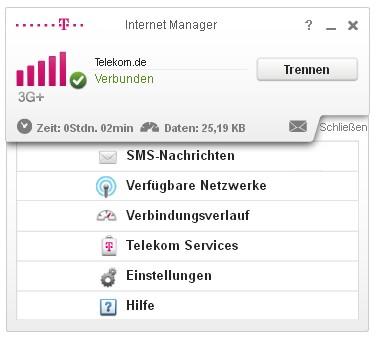 Telekom Internet Manager Menü